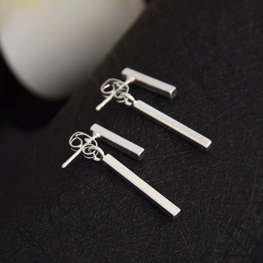 earrings Silver Punk Style Minimalist T Bar Stud Earrings