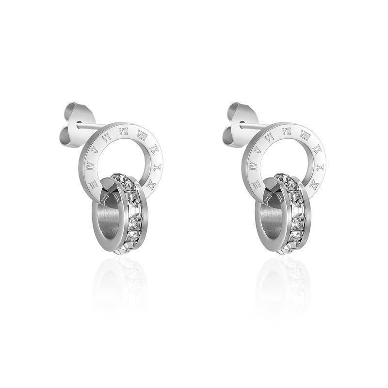 earrings Silver Roman Numerals Crystal Stud Earrings Titanium Steel