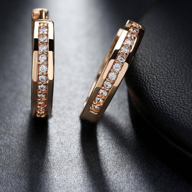 Earrings Trendy Champagne Gold and Silver Color Cubic Zirconia Simple Item Female Earrings Hoop Jewelry
