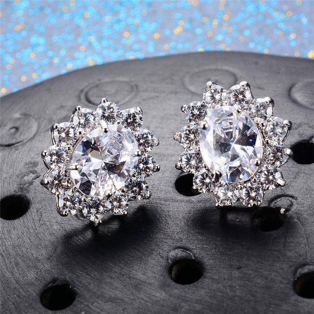 Earrings White 7 Colors, Oval Earrings Stud AAA Crystal Zircon
