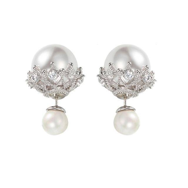 Earrings White Double Sided Cubic Zirconia  Pearl Earrings Studs