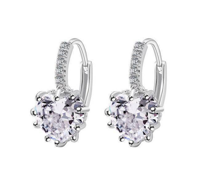 earrings White Sale! Charming Heart Cubic Zirconia Earrings For Women Beautiful Hoop Earrings 5 Colors Available