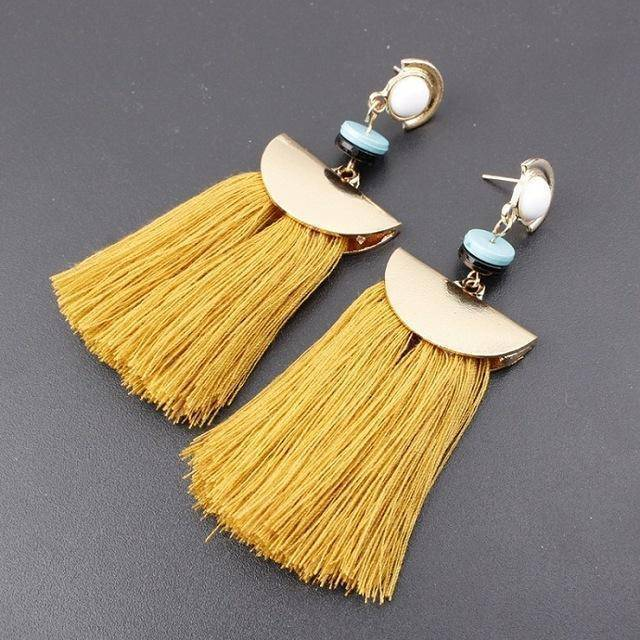 earrings yellow Bohemian Ethnic Big Long Tassel Earrings
