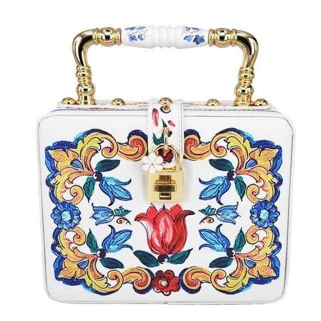 evening bag White 22 Designs, Rectangle Diamond evening flower Clutch bling Bags