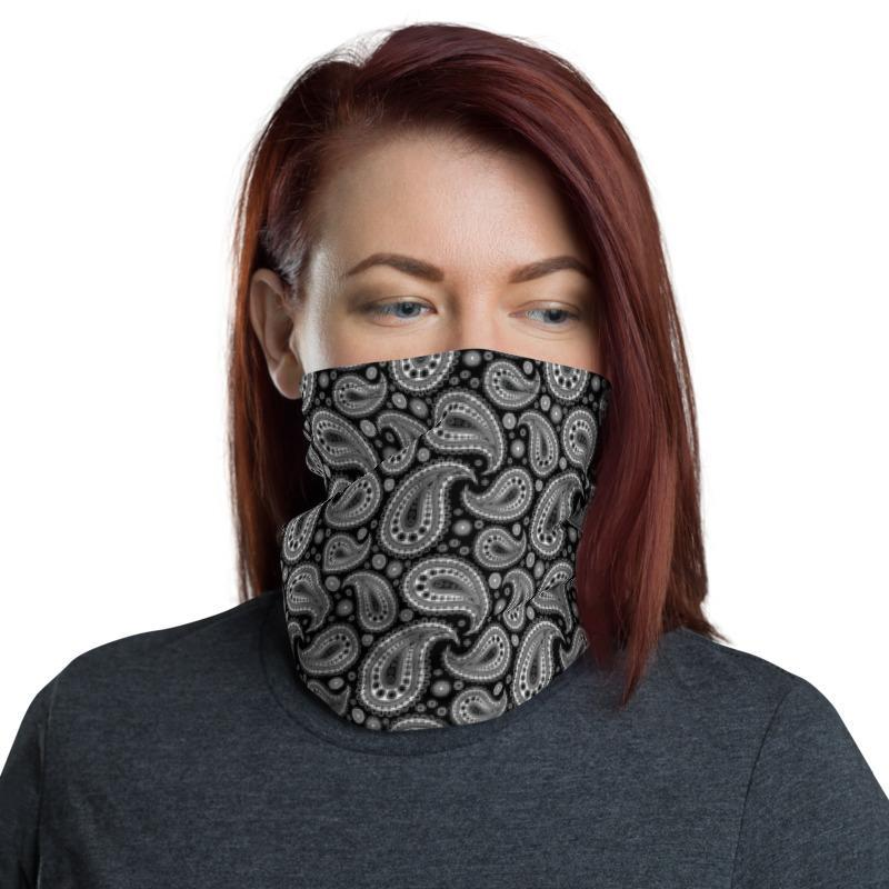 Non Medical Breathable Black Retro Paisley Print Face Covering// Gaiter// Snood