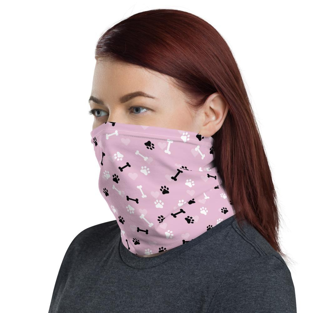 Fashionable Neck Gaiter Made in USA Pink Love my Dog Print Reusable Face Mask Washable Breathable