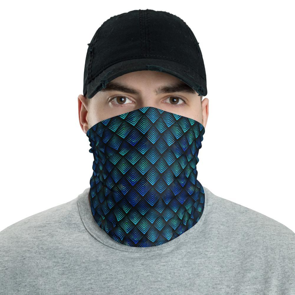 Galactic Dragon Scale Geometric Psychedelic Colorful Vibrant Unisex Neck Gaiter Headband Neck warmer & Rave Mask Bandana - US Fast Shipping