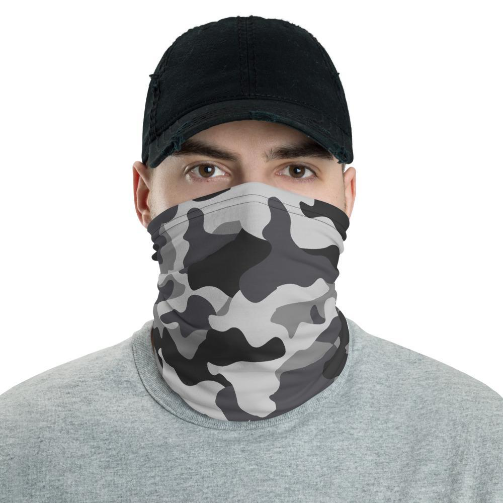 Gray camoflauge washable reusable mask grey camouflage print neck gaiter bandana unisex  scarf - US fast shipping