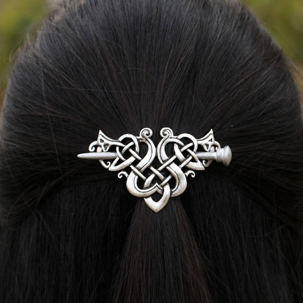 hair accessories Large Celtics Knots Crown Hairpins Hair Clips Stick Slide Accessories in Vintage Silver