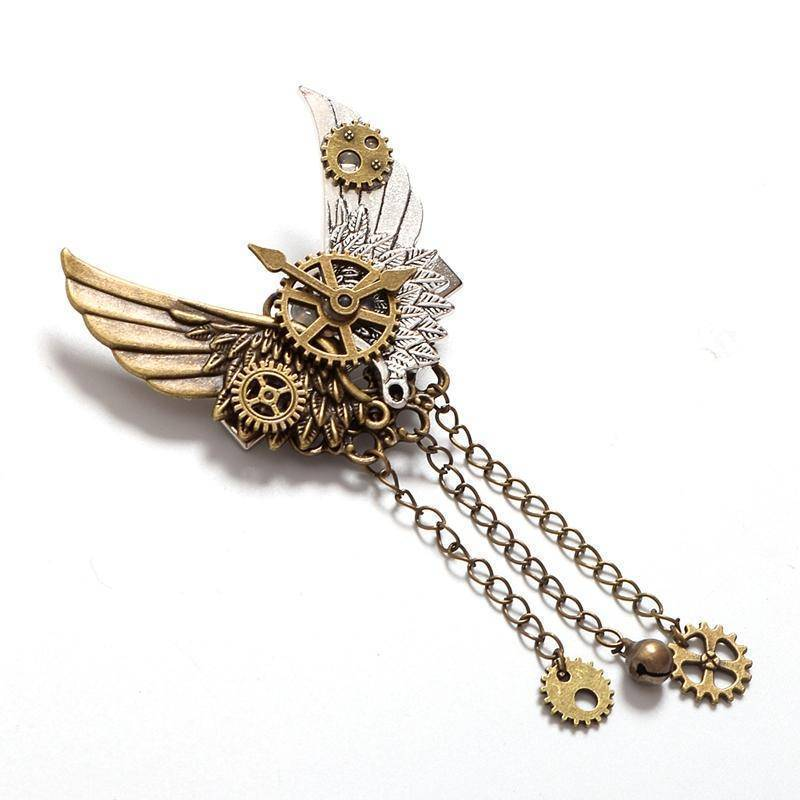 hair accessories Steampunk Gear Wings Hair Clip women pin Gothic in Gold brass antique color