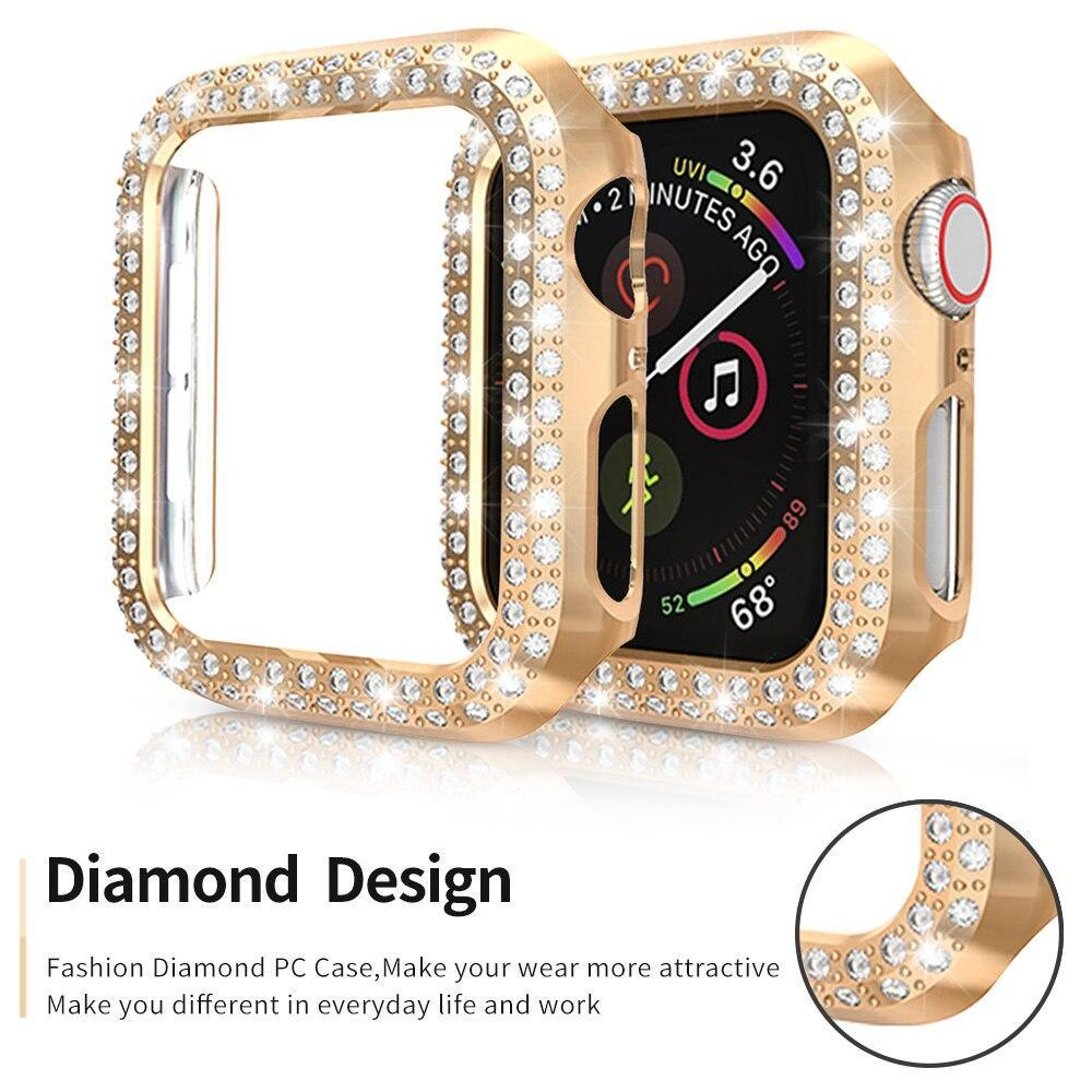 Home 5 Pack Double Row Bling Diamond Cover for Apple Watch Case bezel 40mm 44mm 38mm 42mm Bumper for iWatch Series 5 4 3 Women Shell Accessories