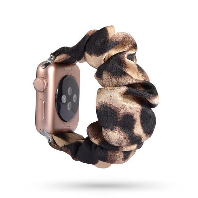 Home 68 / 42mm/44mm Leopard Animal spots pattern black & white silk ladies Apple watch scrunchie elastic band, Series 5 4 3 2  iwatch scrunchy 38/40mm 42/44mm