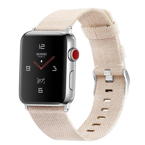 Home apricot / 38mm/40mm Strap for Apple watch band 44mm 40mm correa iwatch band 42mm 38mm nylon watchband leather bracelet belt apple watch 5 4 3 2 1