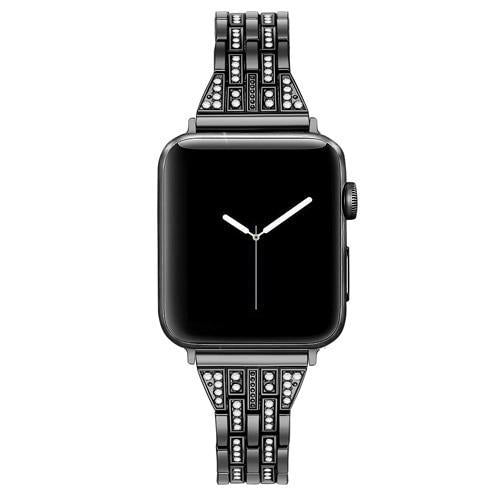 Home black / 38mm Watch accessories strap for apple watch iwatch band 38mm 40mm 42mm 44mm Series 5/4/3/2/1 Diamond Rhinestone luxury link bracelet