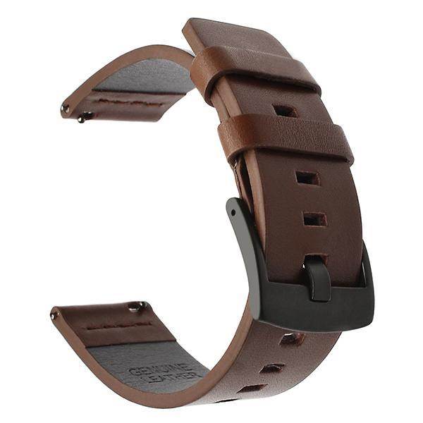 Home black brown / 18mm 20mm 22mm Genuine Leather Strap for Samsung Galaxy Watch 42 46mm Gear S3 Watch band Sport WatchBand Quick Release 18 24mm