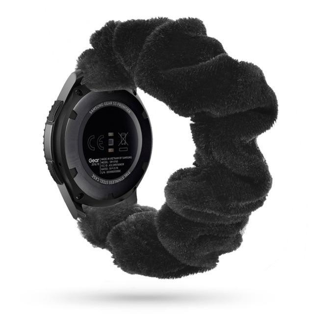 Home black silk velvet / 20mm watch band Elastic Watch Strap for samsung galaxy watch active 2 46mm 42mm huawei watch GT 2 strap gear s3 frontier amazfit bip strap 22 mm