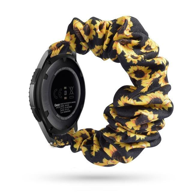 Home black sunflower / 20mm watch band Elastic Watch Strap for samsung galaxy watch active 2 46mm 42mm huawei watch GT 2 strap gear s3 frontier amazfit bip strap 22 mm