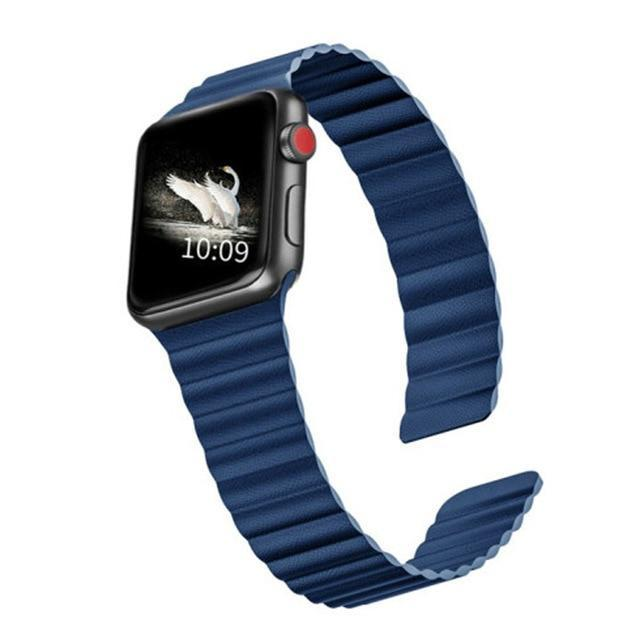 Home blue / 44mm/42mm 38mm/40mm Double Magnetic Clasp Strap for Apple watch band 44mm 40mm Leather loop iwatch Series 4 5 3 2 1 42mm 38mm