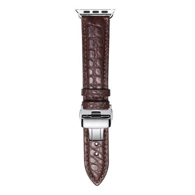 Home brown / 38mm Round Grain Alligator leather, Crocodile style Watch Band Suitable for Apple Watch Bracelet iwatch Series 5 4 3 2 Leather Strap 38mm 40mm 42mm 44mm