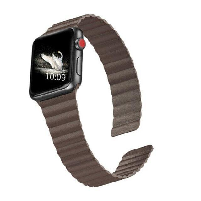 Home Brown / 44mm/42mm 38mm/40mm Double Magnetic Clasp Strap for Apple watch band 44mm 40mm Leather loop iwatch Series 4 5 3 2 1 42mm 38mm