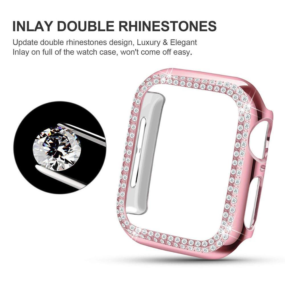 Home Case for Apple watch 5 4 44mm 40mm 42mm 38 mm Apple watch cover Bumper Double Diamond Protector case iWatch 3 2 1 Accessories 40