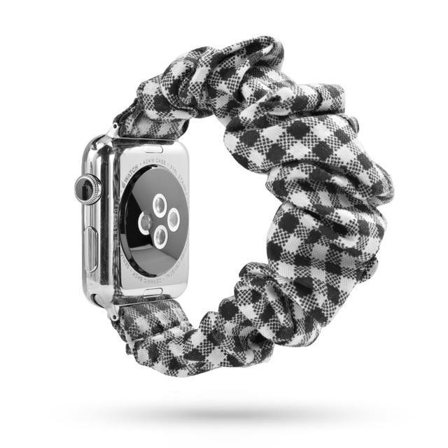 Home checkered / 38mm or 40mm Elastic Apple Watch stretch Strap band  iwatch 42mm 38 mm 44mm 40mm Series 5 4 3 women belt watchband