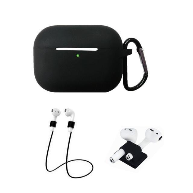Home China / Black Protective Case For AirPods Pro / 3, Portable Silicone Protection Cover Charging Box Protector With Hook Rope Sleeve on AliExpress