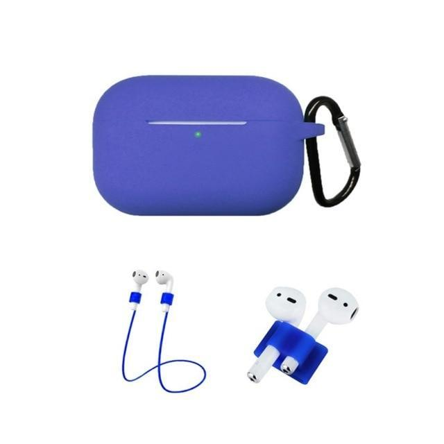 Home China / Blue Protective Case For AirPods Pro / 3, Portable Silicone Protection Cover Charging Box Protector With Hook Rope Sleeve on AliExpress