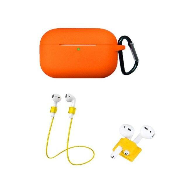 Home China / Orange Protective Case For AirPods Pro / 3, Portable Silicone Protection Cover Charging Box Protector With Hook Rope Sleeve on AliExpress