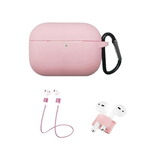 Home China / Pink Protective Case For AirPods Pro / 3, Portable Silicone Protection Cover Charging Box Protector With Hook Rope Sleeve on AliExpress