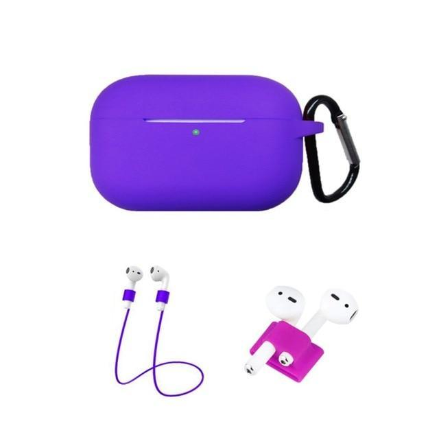 Home China / Purple Protective Case For AirPods Pro / 3, Portable Silicone Protection Cover Charging Box Protector With Hook Rope Sleeve on AliExpress