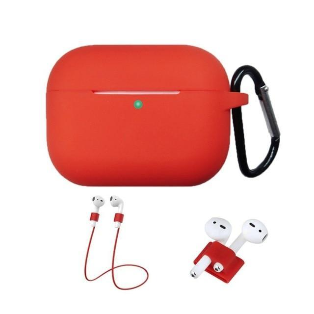 Home China / Red Protective Case For AirPods Pro / 3, Portable Silicone Protection Cover Charging Box Protector With Hook Rope Sleeve on AliExpress