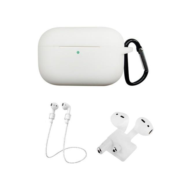 Home China / White Protective Case For AirPods Pro / 3, Portable Silicone Protection Cover Charging Box Protector With Hook Rope Sleeve on AliExpress