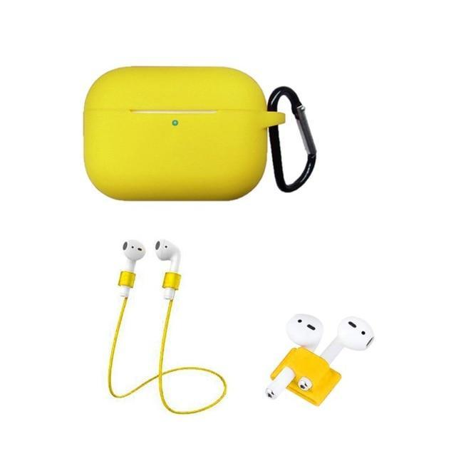 Home China / Yellow Protective Case For AirPods Pro / 3, Portable Silicone Protection Cover Charging Box Protector With Hook Rope Sleeve on AliExpress