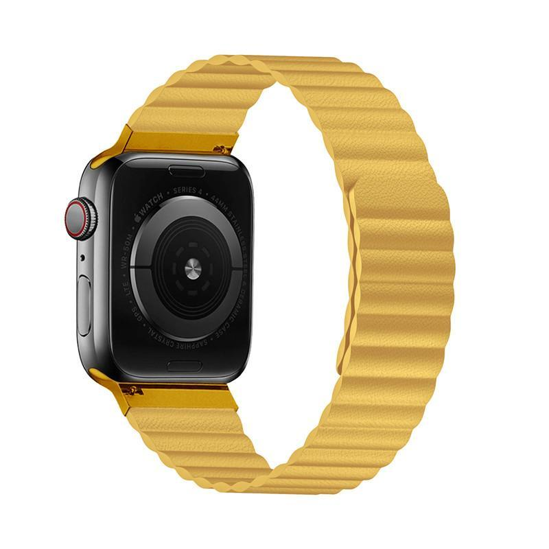 Home Double Magnetic Clasp Strap for Apple watch band 44mm 40mm Leather loop iwatch Series 4 5 3 2 1 42mm 38mm