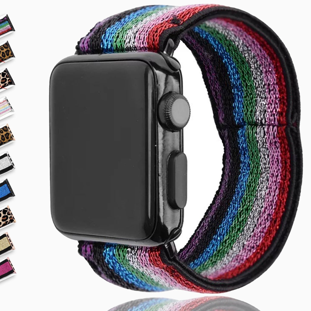 Elastic Stretch Strap For Apple Watch Band, Double Print Layer Sports Series 6 5 4 iWatch Women 38mm 40mm 42mm 44mm Wristband Watchbands