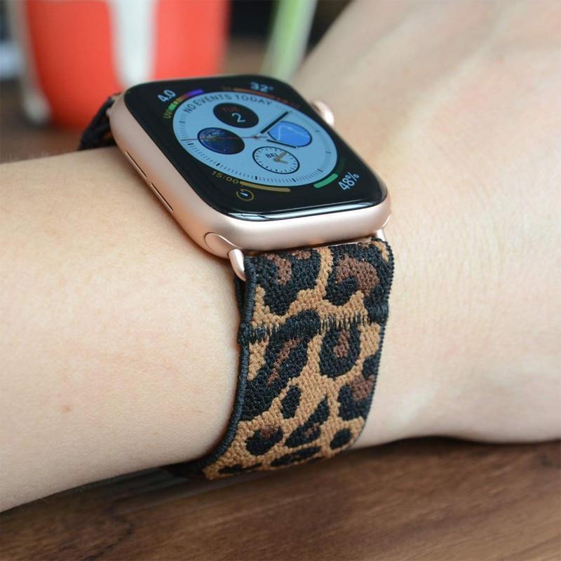 Home Elastic Stretch apple watch band, Double print Layer strap, fits nike hermes sports Series 5 4 3 2 1 iwatch women 38mm 40mm 42mm 44mm