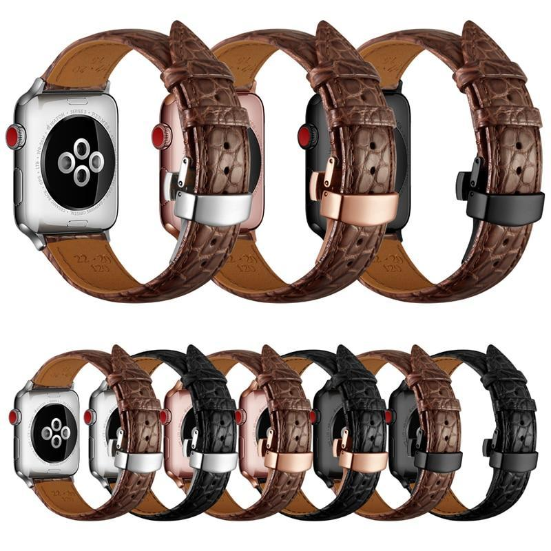 Home France alligator leather strap for Apple watch band 42mm 38mm 44mm 40mm apple watch 4 5 3 2 1 iwatch bracelet Accessories