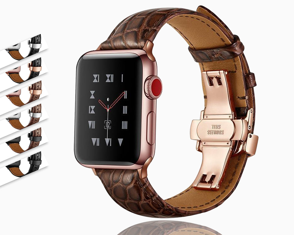 Home France alligator leather strap for Apple watch band 42mm 38mm 44mm 40mm apple watch 5 4 3 2 1 iwatch bracelet Accessories