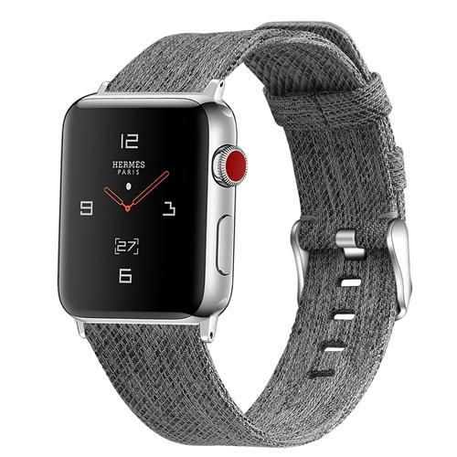 Home Gray / 38mm/40mm Strap for Apple watch band 44mm 40mm correa iwatch band 42mm 38mm nylon watchband leather bracelet belt apple watch 5 4 3 2 1