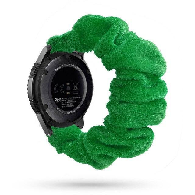 Home green silk velvet / 20mm watch band Elastic Watch Strap for samsung galaxy watch active 2 46mm 42mm huawei watch GT 2 strap gear s3 frontier amazfit bip strap 22 mm