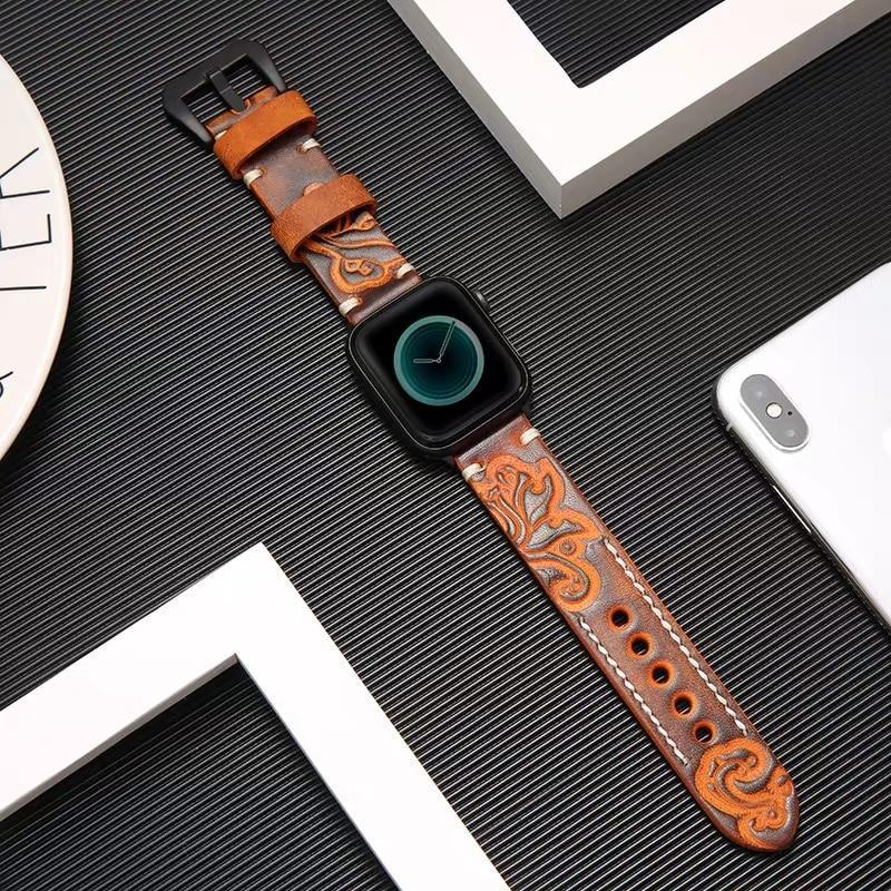 Home Handmade Luxury Embossing Genuine Leather Bracelet Apple Watch Band ,  iwatch 38mm 40mm 42mm 44mm Series 5 4 3