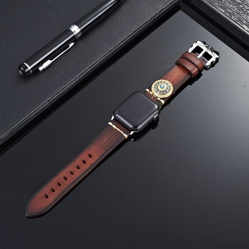 Home Handmade Luxury Genuine Leather Strap For Apple Watch 5 Band Chinese Zodiac Watchband for iWatch Series 5 4 3 2 1 38 42mm 44mm 40mm