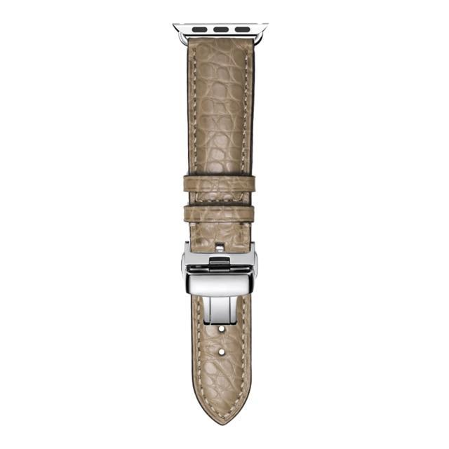 Home light green / 38mm Round Grain Alligator leather, Crocodile style Watch Band Suitable for Apple Watch Bracelet iwatch Series 5 4 3 2 Leather Strap 38mm 40mm 42mm 44mm