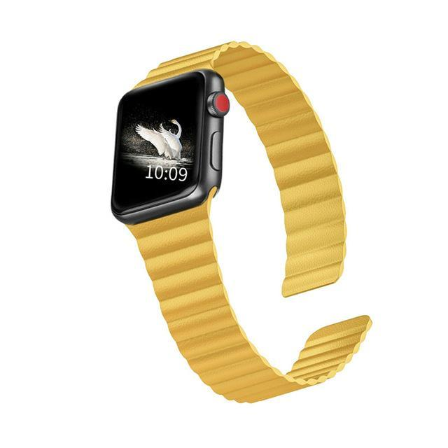 Home Meyer Lemon / 44mm/42mm 38mm/40mm Double Magnetic Clasp Strap for Apple watch band 44mm 40mm Leather loop iwatch Series 4 5 3 2 1 42mm 38mm