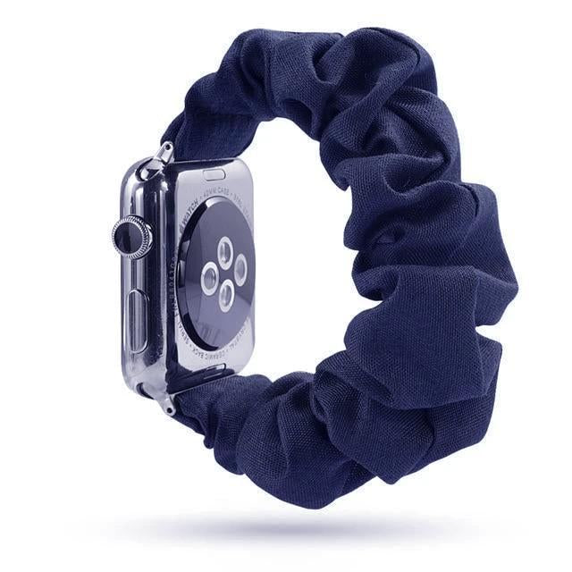 Home Navy Blue / 38mm or 40mm Holiday sale! - Scrunchie Elastic Apple Watch stretch band,  iwatch 42mm 38 mm 44mm 40mm, Series 5 4 3