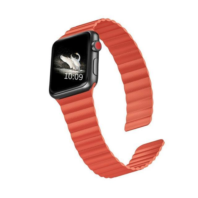 Home Orange / 44mm/42mm 38mm/40mm Double Magnetic Clasp Strap for Apple watch band 44mm 40mm Leather loop iwatch Series 4 5 3 2 1 42mm 38mm