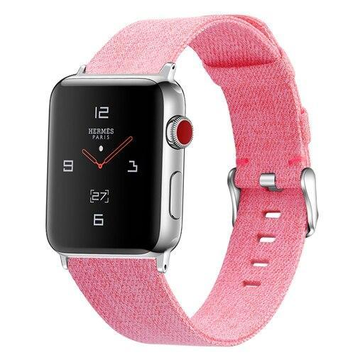 Home Pink / 38mm/40mm Strap for Apple watch band 44mm 40mm correa iwatch band 42mm 38mm nylon watchband leather bracelet belt apple watch 5 4 3 2 1