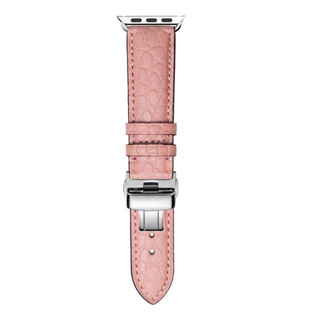 Home pink / 38mm Round Grain Alligator leather, Crocodile style Watch Band Suitable for Apple Watch Bracelet iwatch Series 5 4 3 2 Leather Strap 38mm 40mm 42mm 44mm