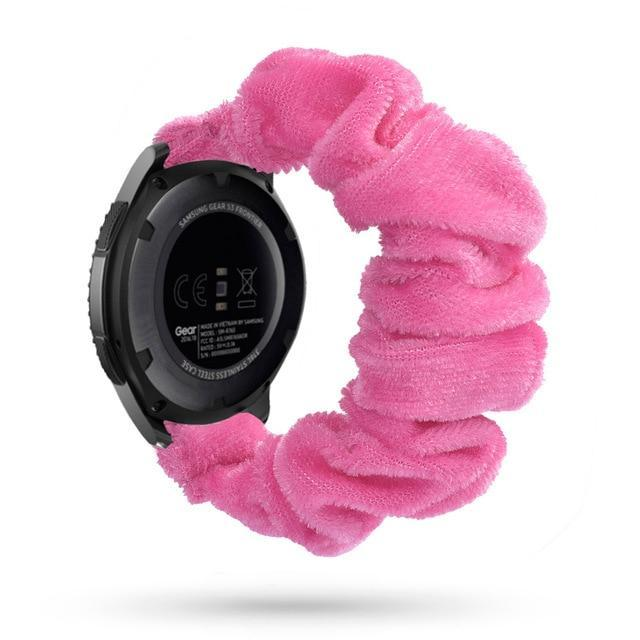 Home pink silk velvet / 20mm watch band Elastic Watch Strap for samsung galaxy watch active 2 46mm 42mm huawei watch GT 2 strap gear s3 frontier amazfit bip strap 22 mm